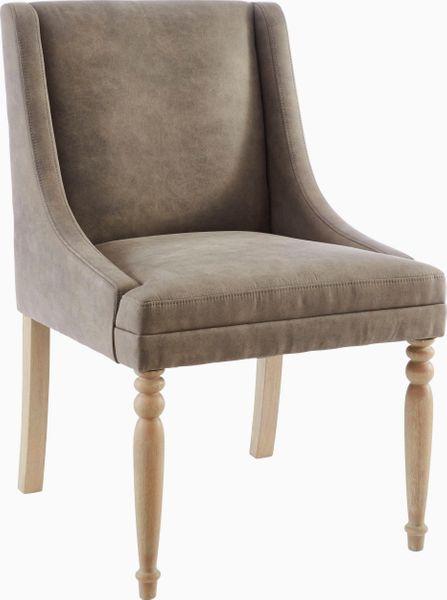 Brązowy fotel z toczonymi nogami zdjęcie 1