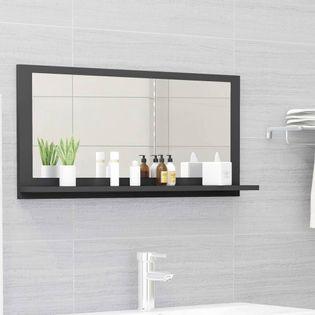 Lumarko Lustro łazienkowe, szare, wysoki połysk, 80x10,5x37 cm, płyta