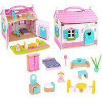 Drewniany różowy Domek Dla Lalek z mebelkami