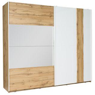 Wood Szafa przesuwna 2D 250 cm Dąb Wotan / Biały Wysoki Połysk 12