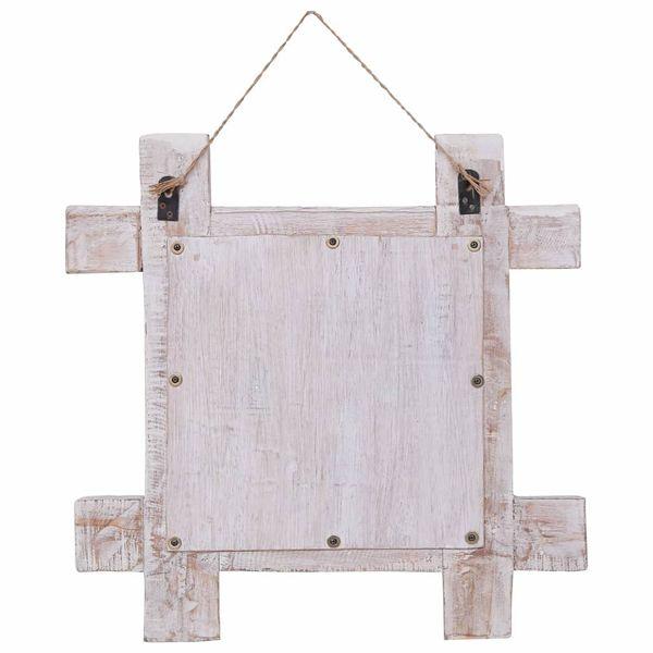 Lustro W Ramie Z Belek, Białe, 50X50 Cm, Lite Drewno Z Odzysku zdjęcie 3