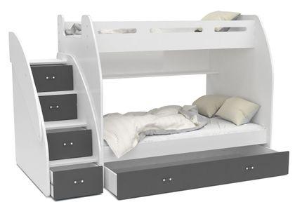 Łóżko piętrowe ZUZIA + materace + szuflada + schodki - szare