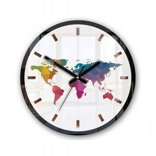 Zegar Ścienny PLANET COLOR ELEGANCE Mapa Świata