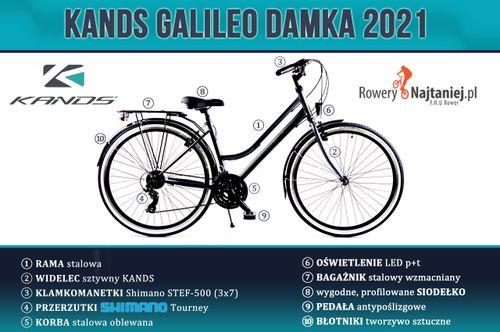 """ROWER 28"""" KANDS GALILEO DAMKA CZARNO-RÓŻOWY RAMA 17"""" 2021 na Arena.pl"""