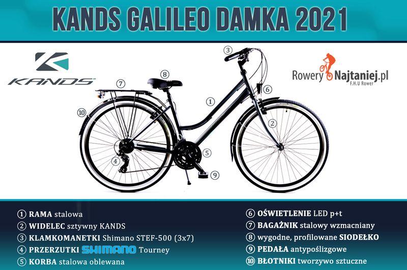 """ROWER 28"""" KANDS GALILEO DAMKA CZARNO-RÓŻOWY RAMA 19"""" 2021 na Arena.pl"""
