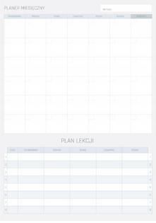 Planer Miesięczny Suchościeralny Z Planem Lekcji Szary