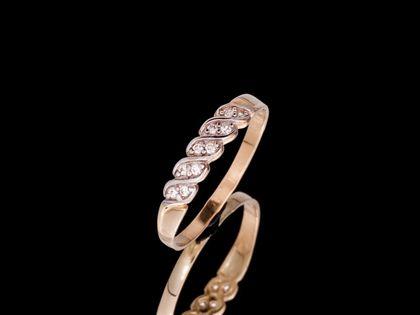 P669 Złoty pierścionek z cyrkoniami. 585