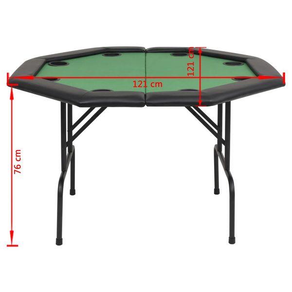 Składany stół do pokera dla 8 graczy, ośmiokątny, zielony zdjęcie 6