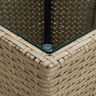Lumarko Stolik herbaciany, beżowy, 41,5x41,5x44 cm, rattan PE i szkło