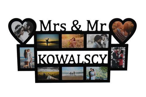 Multirama ramka na zdjęcia z napisem Mrs & Mr Nazwisko na Arena.pl