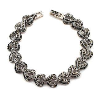 Stylowa bransoletka srebrna z markazytami