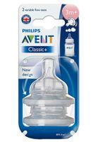 Smoczek do butelki antykolkowy Avent Classic+ 2szt 3m+ trójprzepływowy