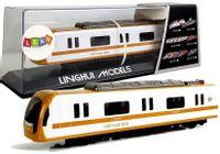 Pociąg Kolejka Lokomotywa Z Napędem Dźwięk I Światła Żółta