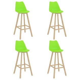 Lumarko Stołki barowe, 4 szt., zielone, PP i lite drewno bukowe