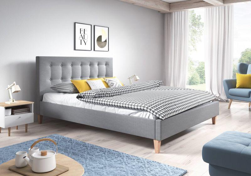 łóżko Tapicerowane 140x200 Bergamo Materac Piankowy Stelaż