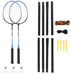 Zestaw rakiet do badmintona 2 sztuki + lotki 3 sztuki + siatka + pokrowiec Nils NRZ012 stalowy