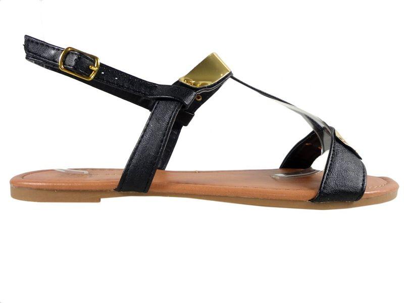 Czarne płaskie sandały eko skóra płaskie buty 36 na Arena.pl