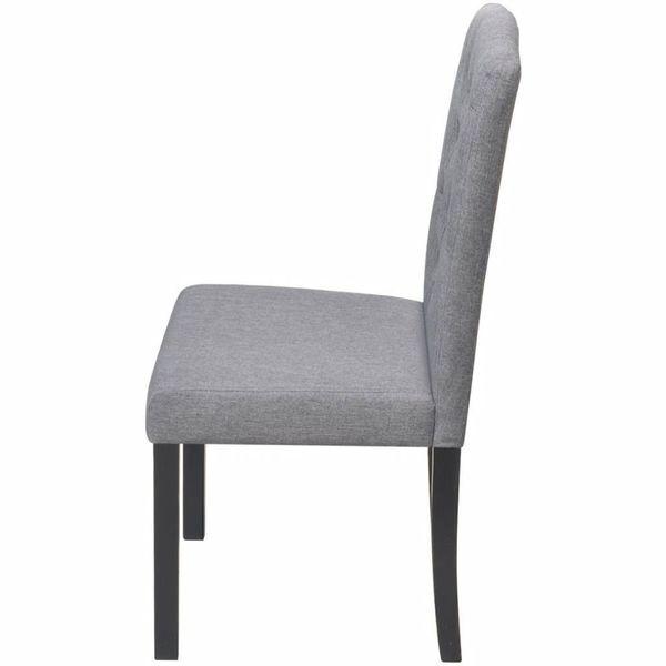 Krzesło Krzesła Do Jadalni Drewniane Tapicerowane Materiałowe 6 Sztuki Szare