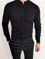 Czarna taliowana koszula meska ze stojka imaginazzi 1509 - XL
