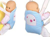 Nosidełko BOBO na szelkach dla lalki  niebieska kratka z kwiatuszkami