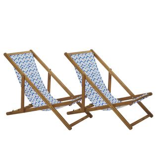 Zestaw 2 leżaków ogrodowych jasne drewno akacjowe niebiesko-biały ANZIO
