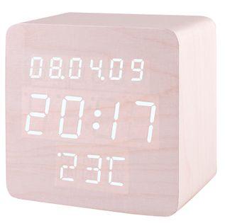 XONIX GHY-1310 Mały budzik LCD, drewniana obudowa, termometr, 3 x alarmy, sterowanie głosowe