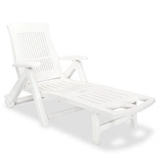 Leżak Z Podnóżkiem, Plastik, Biały