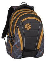 Plecak szkolny Bagmaster trzykomorowy, czarny z brązowymi suwakami BAG8E
