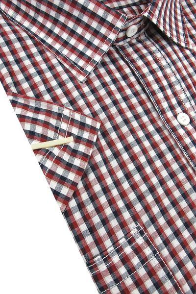Duża Koszula Męska Laviino czerwona w kratkę na krótki rękaw duże rozmiary K923 6XL 50 182/188 na Arena.pl