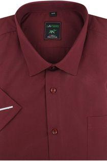 Koszula Męska Laviino gładka bordowa na krótki rękaw w kroju REGULAR K948 S 38 170/176