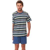 Piżama męska z koszulką w zielone paski, Rozmiar: M