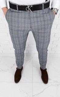 Szare eleganckie spodnie meskie slim fit w krate z niebieska wstawka 1537 - 32