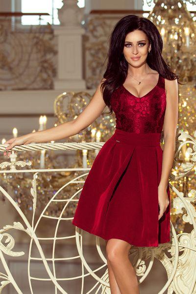 dce983b855ce2e 208-3 Sukienka z koronkowym dekoltem i kontrafałdami - BORDOWA zdjęcie 1 ...