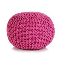 Puf z ręcznie dzierganym pokryciem z bawełny, 50x35 cm, różowy