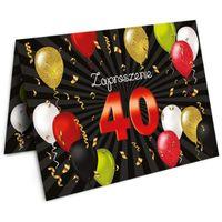 Zaproszenia 40 URODZINY balony czarno czerwone x10