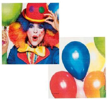 Serwetki kolorowe KLAUN balony Urodziny Party