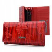 LORENTI portfel skóra lakier motyle P026 czerwony