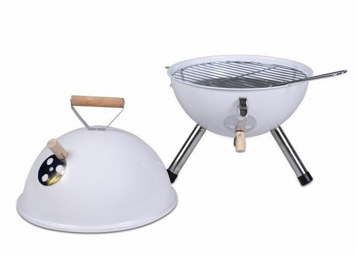 Grill ogrodowy węglowy okrągły, mini grill bbq kolor biały zdjęcie 3