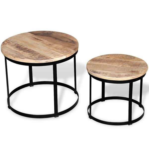 Dwa Stoliki Kawowe Z Surowego Drewna Mango Okrągłe 40 I 50 Cm