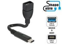 KABEL USB-C(M)->USB-A(F) 2.0 0.15M CZARNY PROFILOWANY DELOCK