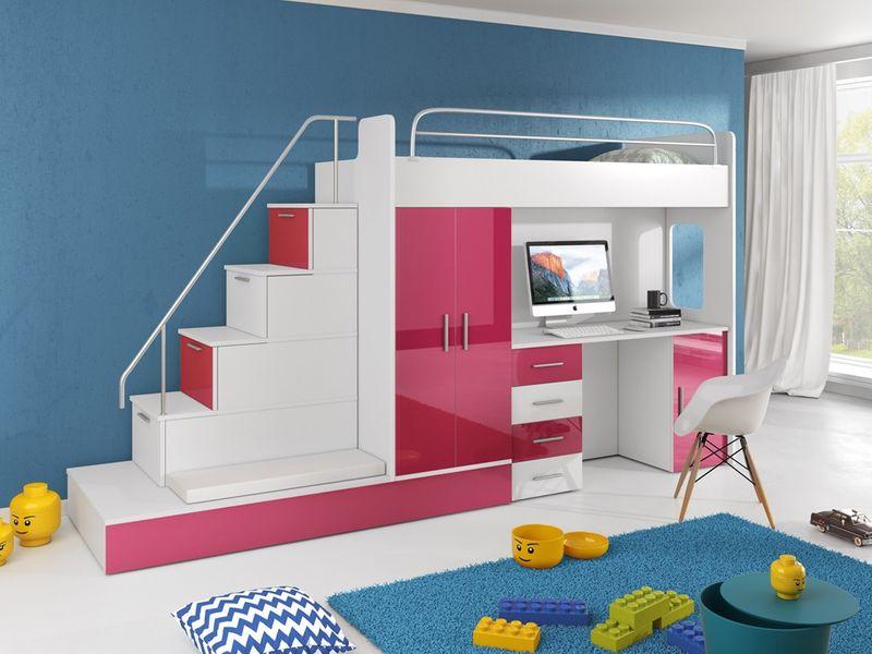 łóżko Piętrowe Z Biurkiem Szafą Raj 5 8 Kolorów Połysk