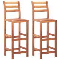 Krzesła barowe, 2 szt., lite drewno akacjowe