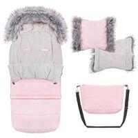 Śpiworek do wózka 4w1, mufka, śpiwór z futerkiem do sanek, gondoli 120 cm różowy