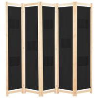 Parawan 5-panelowy, czarny, 200 x 170 x 4 cm, tkanina
