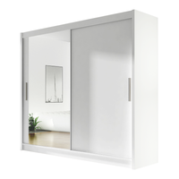 Szafa przesuwna Bega VI z lustrem 180cm - pojemna garderoba - BIAŁY
