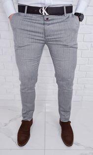 Eleganckie spodnie męskie w jodełkę szare 77 - 38