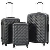 Zestaw twardych walizek, 3 szt., czarny, ABS 91886