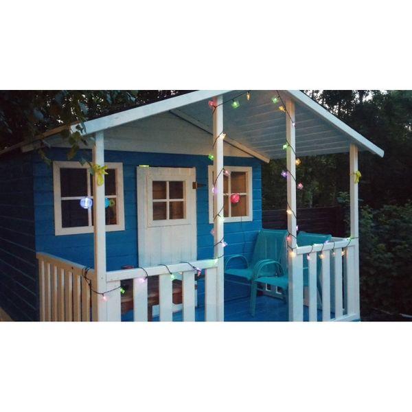 Domek ogrodowy dla dzieci 4IQ Gucio drewniany ze ślizgiem i tarasem zdjęcie 4