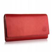 BETLEWSKI damski portfel skórzany czerwony RFID