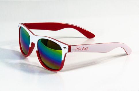 Okulary kibica biało-czerwone lustrzane Polska